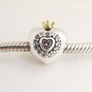 Pandora Pink Princess Heart Charm Silver NWT Box